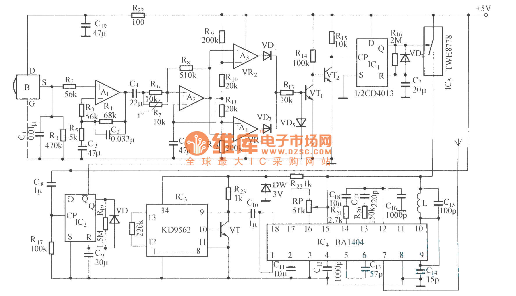 pyroelectric infared detection wireless alarm circuit diagram - alarm control