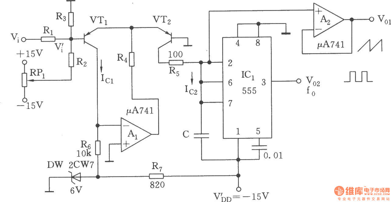 Exponential Voltage Controlled Oscillator555 Oscillator Circuit 555 Diagram