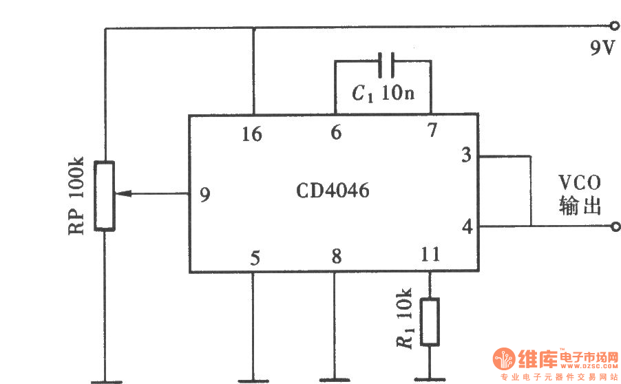wideband vco composed of cd4046