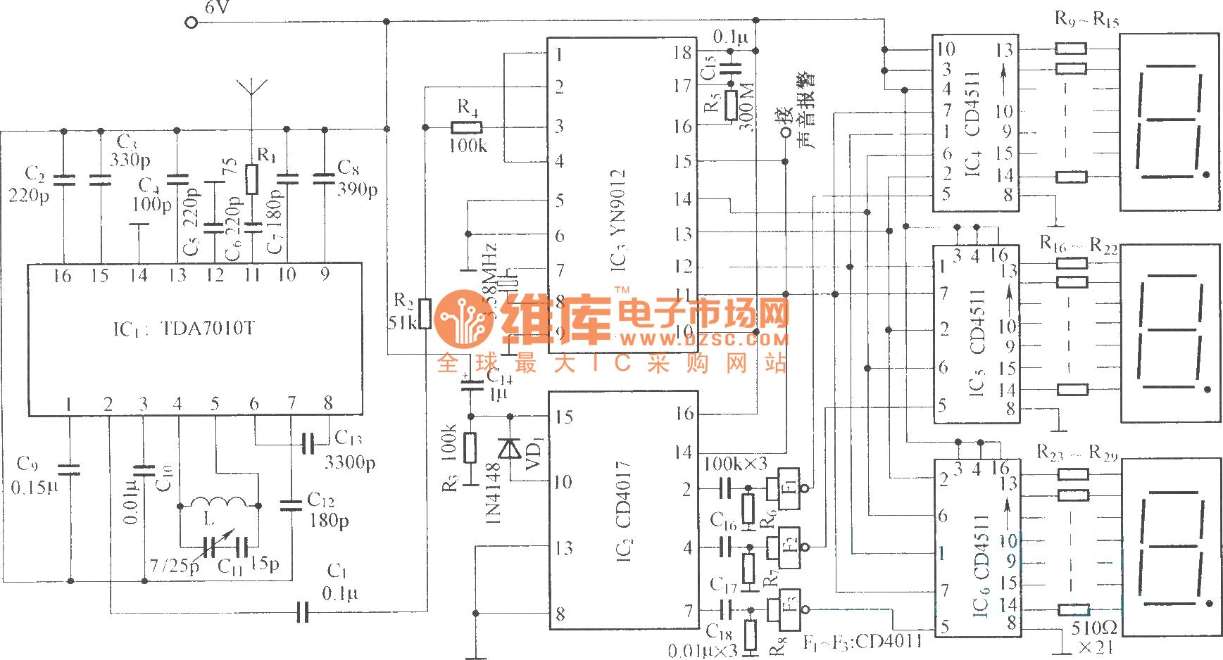 Frequency modulation radio reception main frame circuit ...