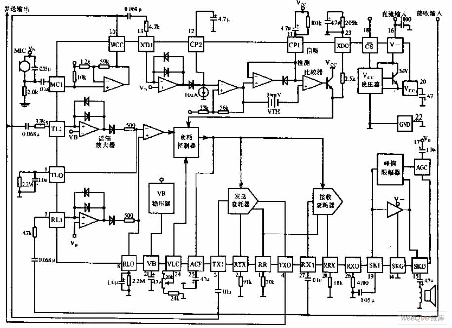 hands-free phone chip circuit diagram - telephone-related circuit