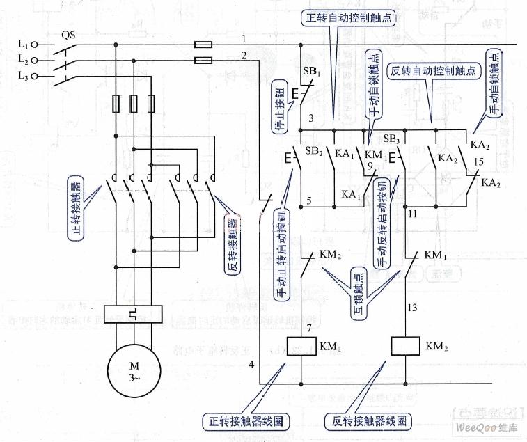 motor reversing control circuit diagram