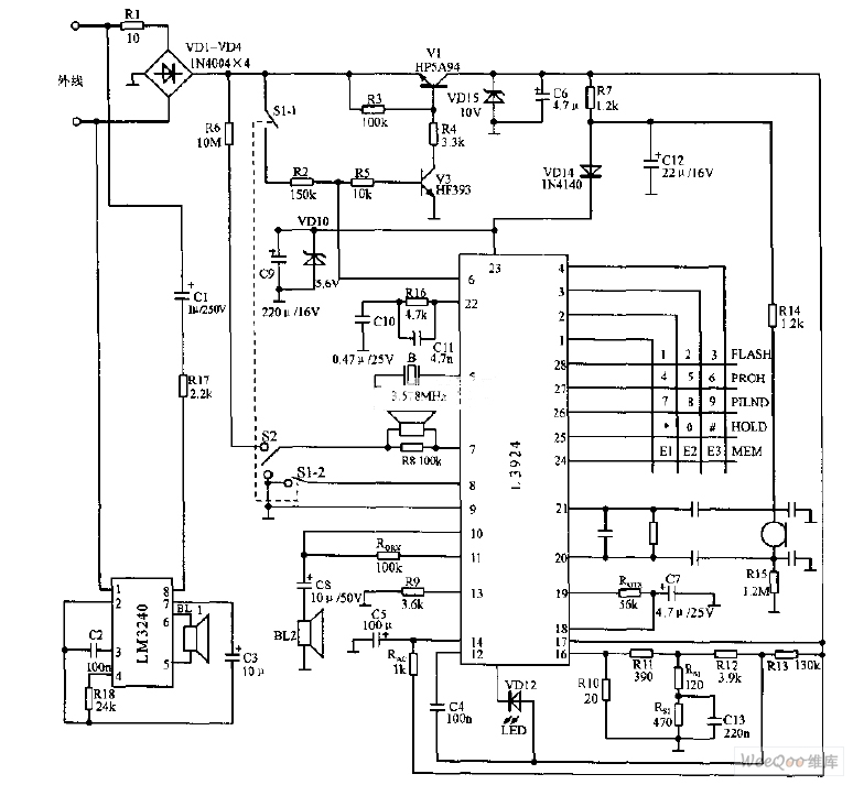 italy high integrated telephone circuit diagram - telephone-related circuit
