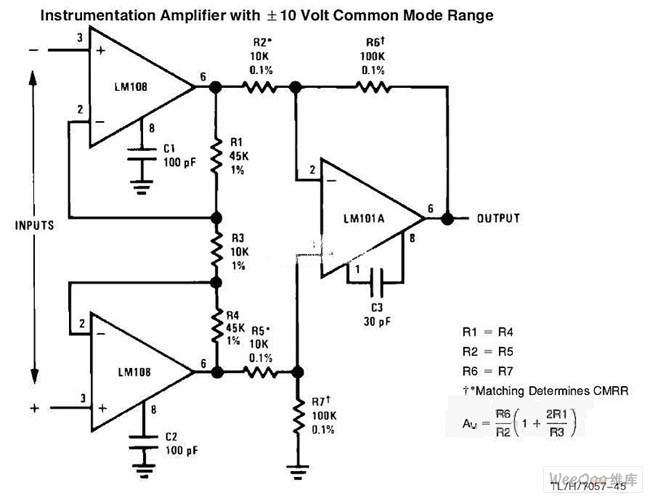 the instrumentation amplifier circuit with common mode signal input
