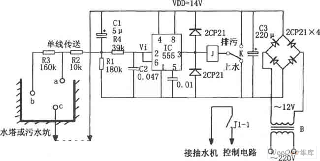 consisting of 555 water and sewage control circuit