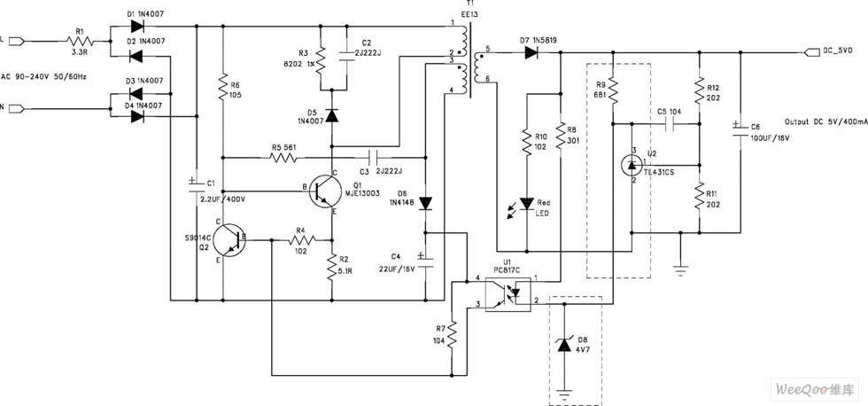 rcc 5v  400ma switch power supply circuit