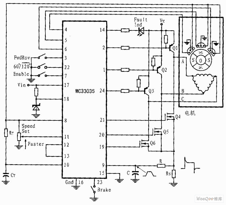 Three Phase And Six Step Motor Control Circuit Of Mc33035 Motor Control Control Circuit