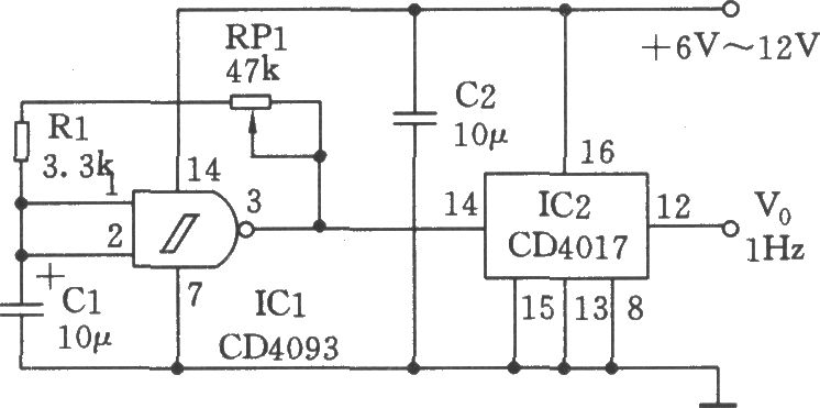 Simple seconds pulse generator CD4017 on audio amplifier circuit