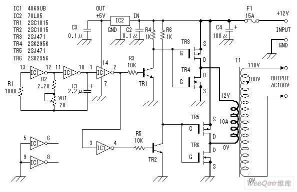 12v Dc Changed Into 100v Ac Inverter Power Supply Circuit