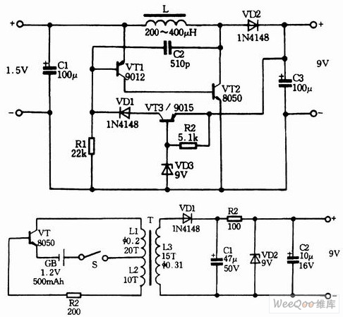 Three_12V_15V_input_and_9V_output_booster_circuitson Basic Electrical Control Circuits