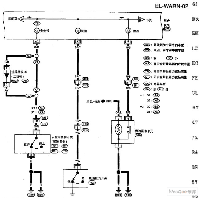 nissan a32 el warning l circuit 2 automotive circuit