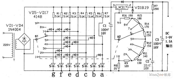 1-9V regulated power supply digital display circuit