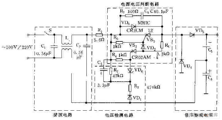 110v  220v ac voltage automatic switch-over circuit - basic circuit - circuit diagram