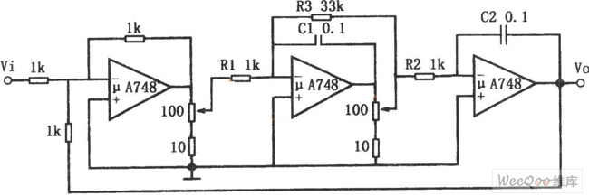 Frequency Adjustable Bandpass Filter Circuit