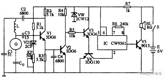 non-contact sensor alarm circuit - alarm control
