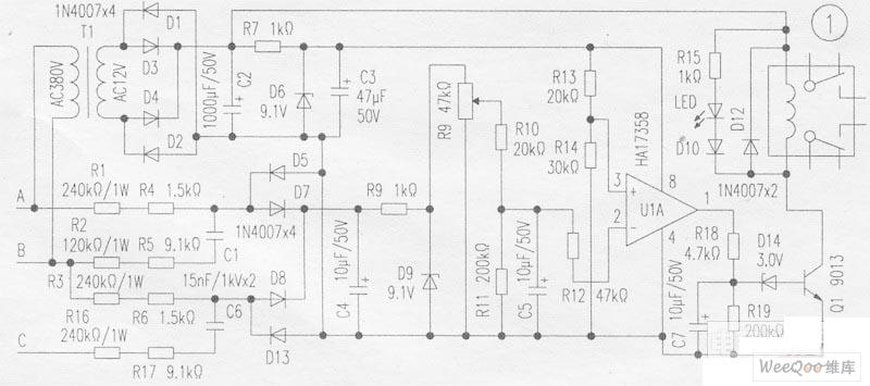 motor phase broken phase protector circuit - control circuit - circuit diagram
