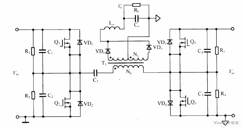 full bridge dc uff0fdc converter circuit - basic circuit - circuit diagram