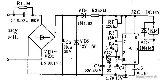 timed trigger switch circuit - motor control - control circuit - circuit diagram