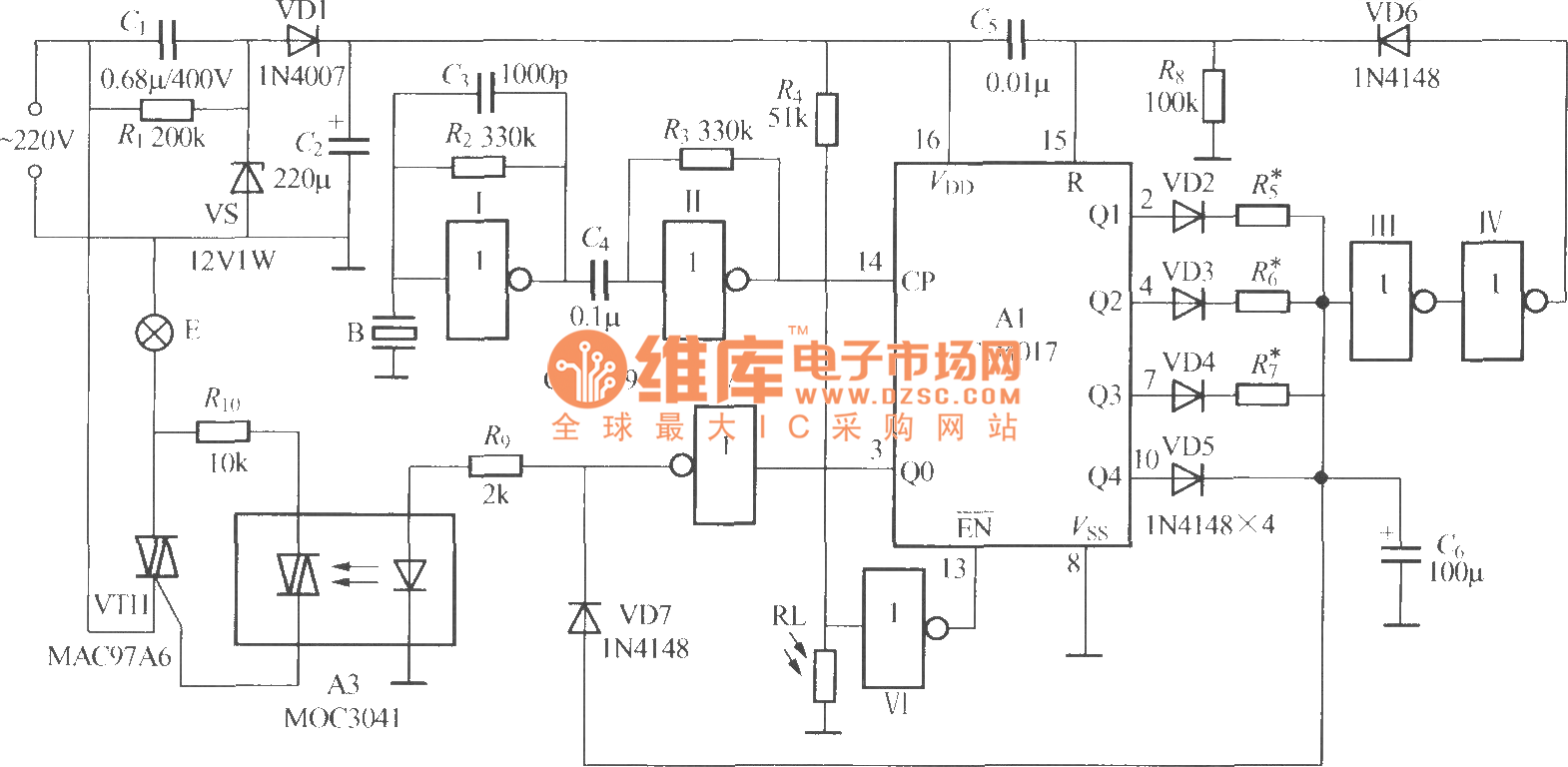 Non Two Wire System Sound And Light Control Stairs Delay Switch Rf Circuit Circuit5