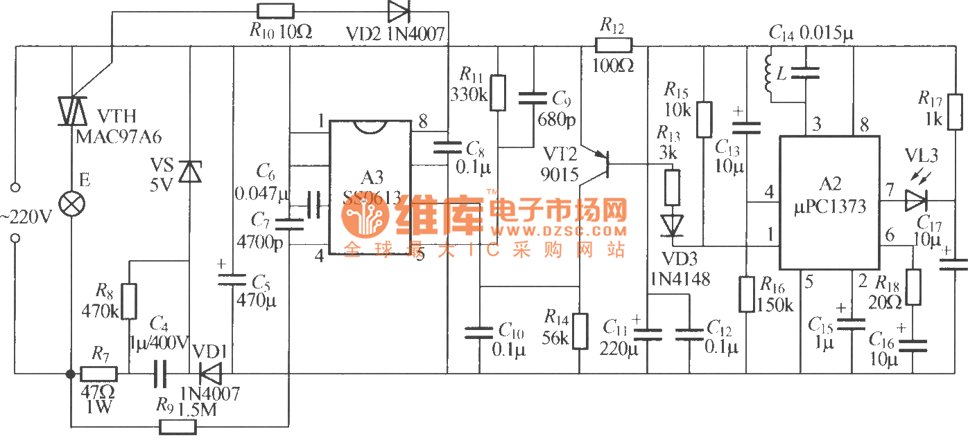 infrared remote control dimmer lamp circuit