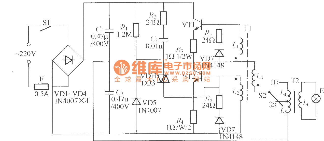 electronic energy saving lamp  1  - led and light circuit - circuit diagram