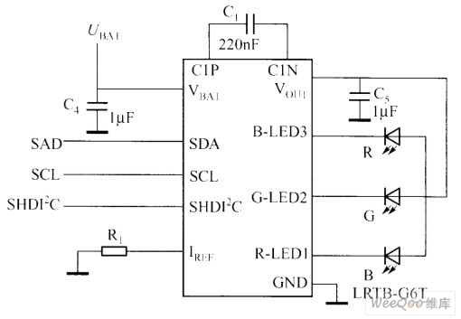 typical rgb led driver chip application circuit with i2c interface led and light circuit