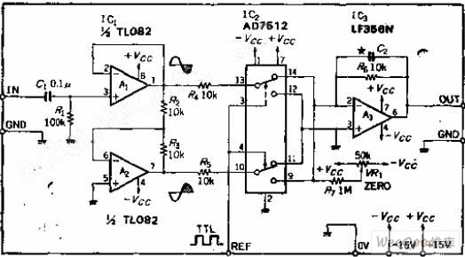 the ic whole wave synchronous detection circuit with analog switch - basic circuit
