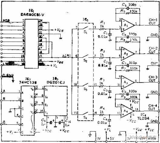 four-way output decoding multiplex converting circuit of d-a converter - basic circuit