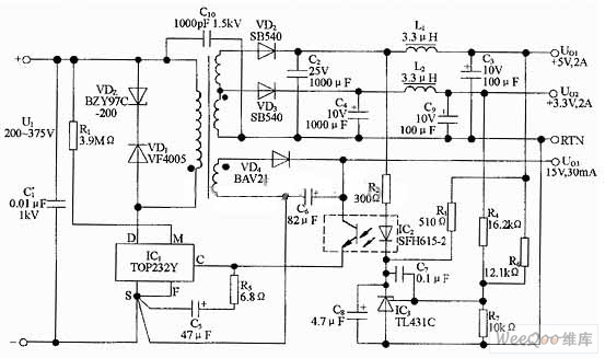 17w pc standby power supply circuit of 5v and 3 3 v output - power supply circuit