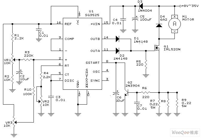 sg3525 dc motor driver circuit - basic circuit