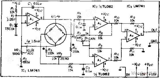 electric bridge transducer driver or amplification circuit