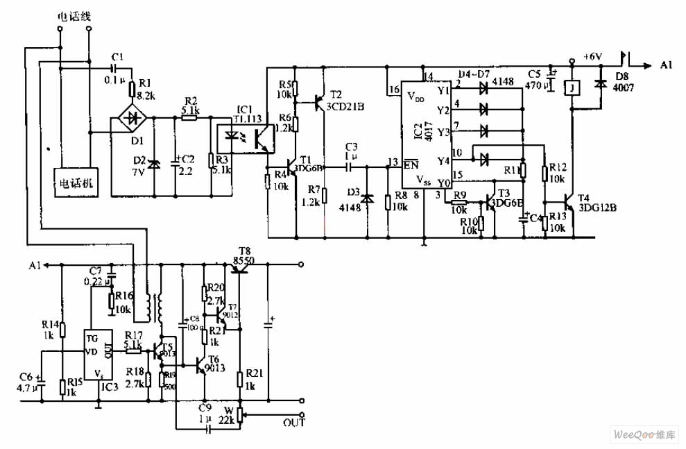 automatic recording telephone interface circuit - telephone-related circuit