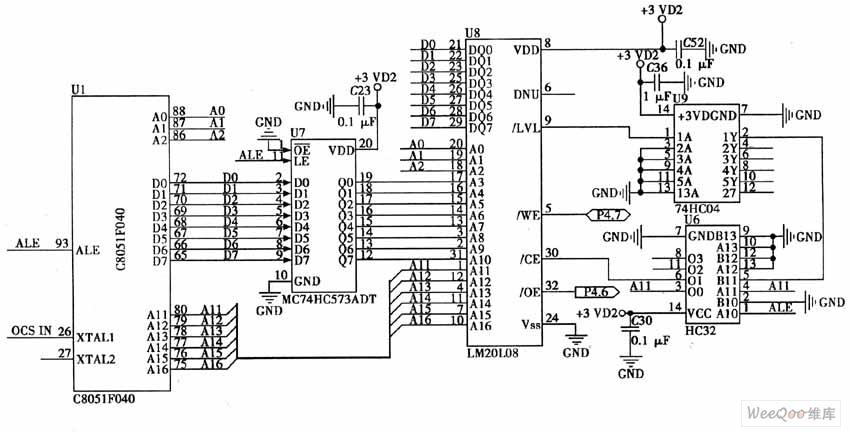 scm c8051fc40 and fm20l08 expansion circuits