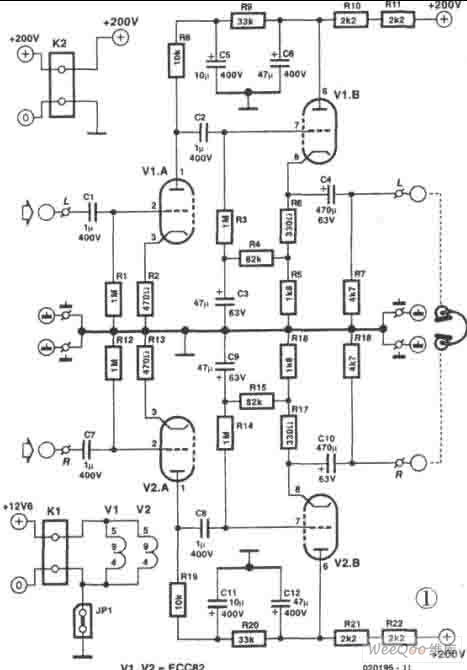 headphone amplifier composed of ecc822 tube circuit