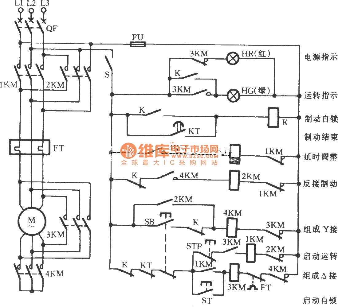y-shaped three-phase motor reverse brake circuit