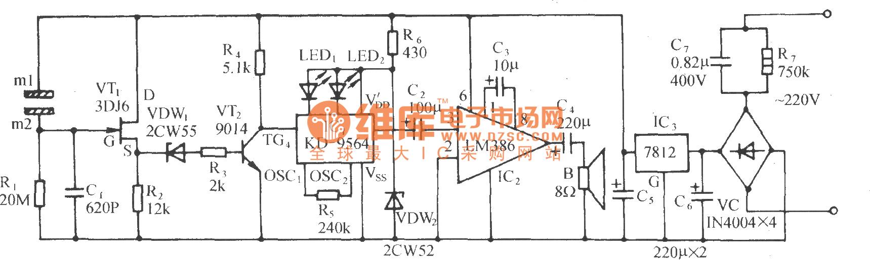 The Fire Alarm Circuit With Metal Plate As Fog Sensor Voltagecontrolledresistor Measuringandtestcircuit