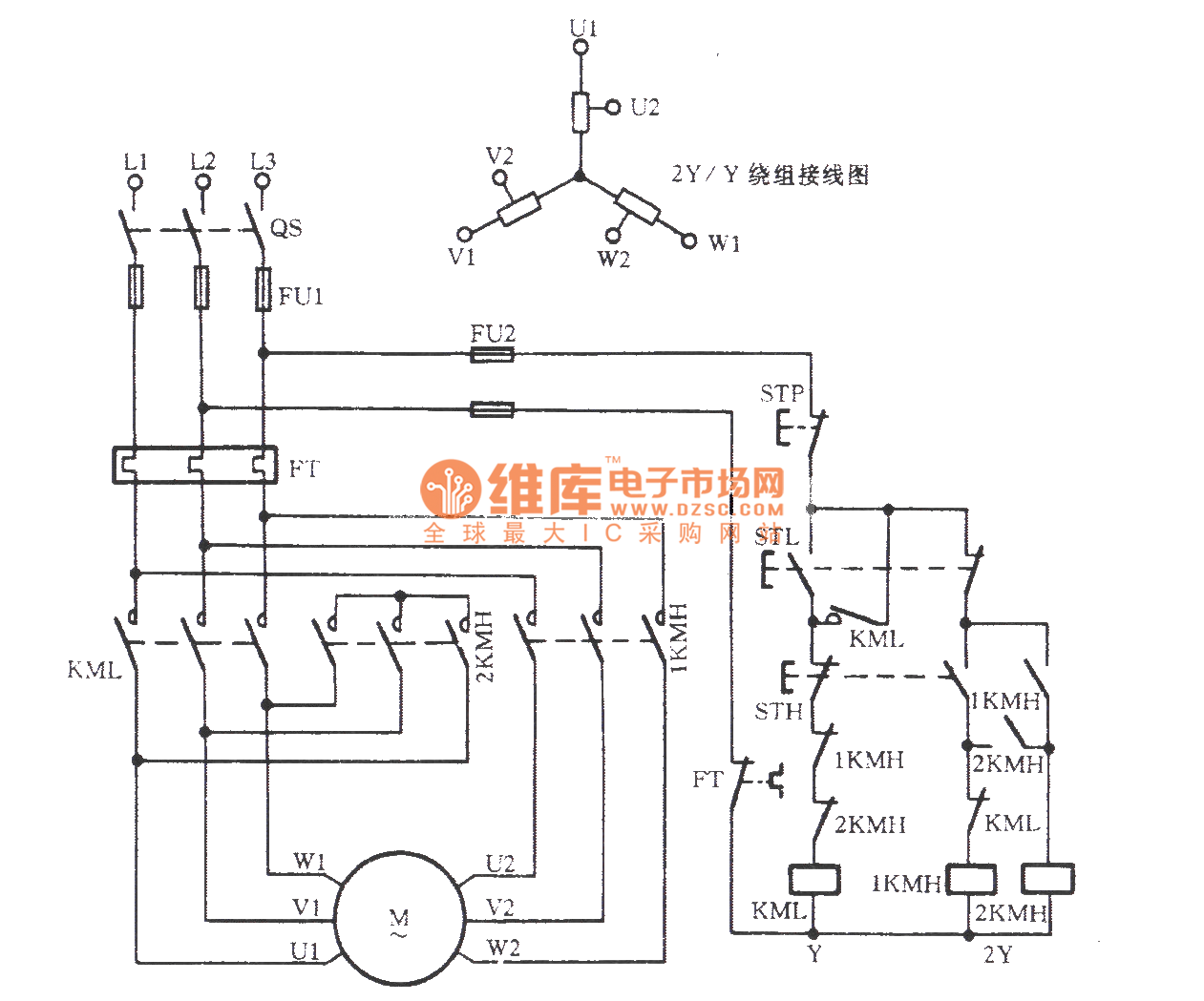 Three-phase motor double speed 2Y / Y connection speed regulation circuit -  Basic_Circuit - Circuit Diagram - SeekIC.comSeekIC.com
