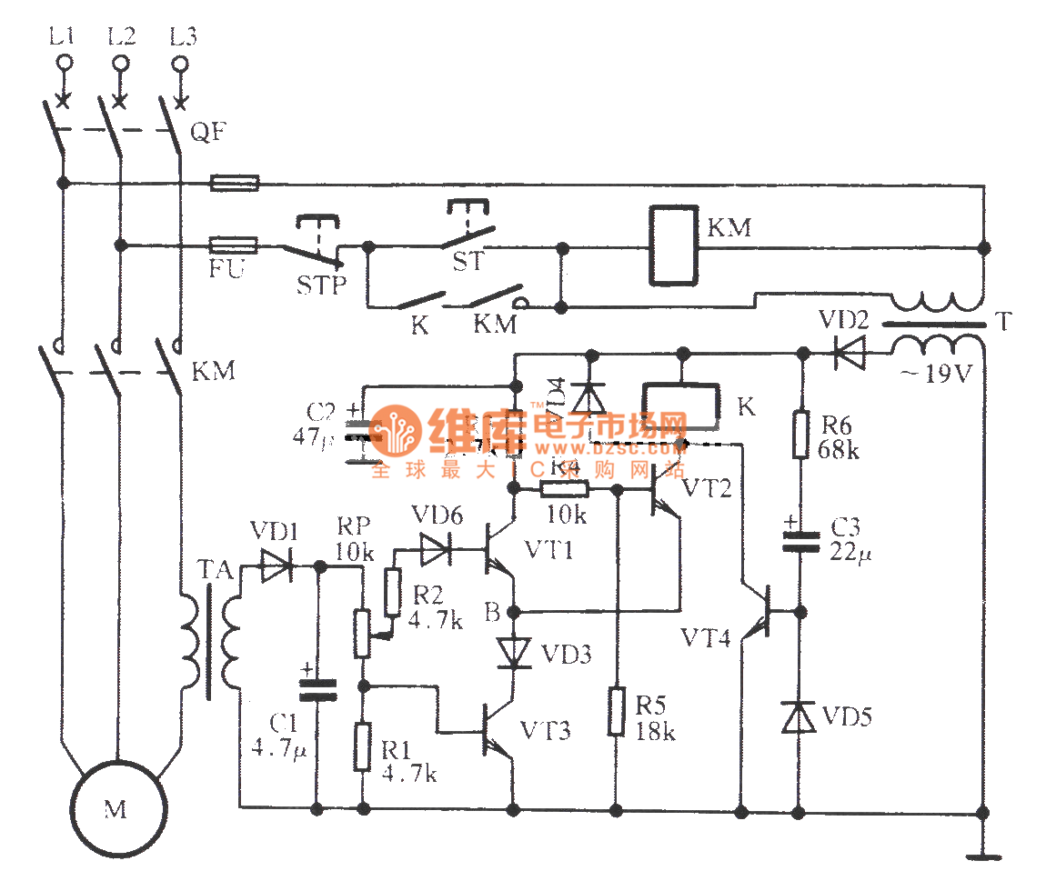Three-phase motor phase-off over-current protection circuit