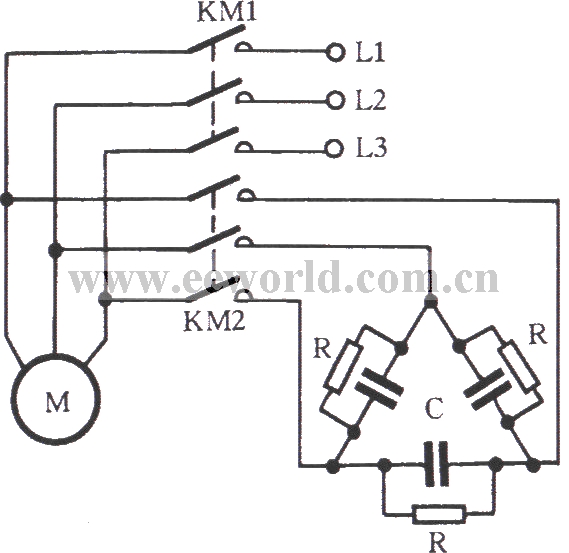three-phase motor self-motivation brake circuit