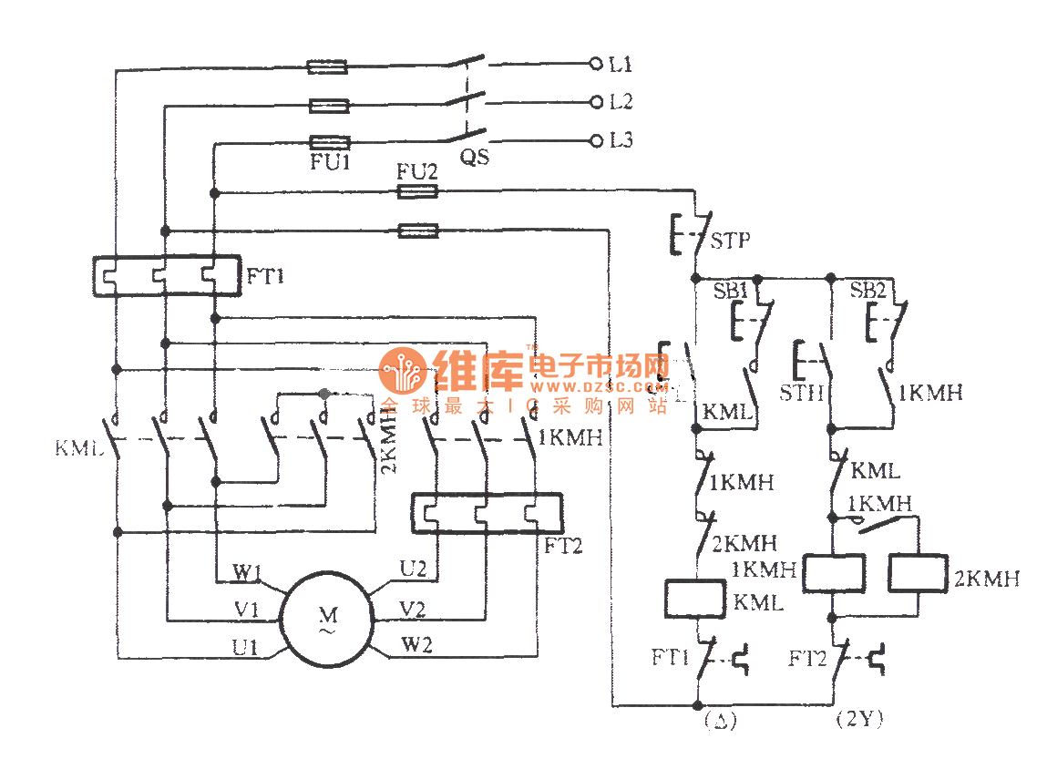Three Phase Motor Dual Speed 2y Connection Control Wiring Diagram Circuit C
