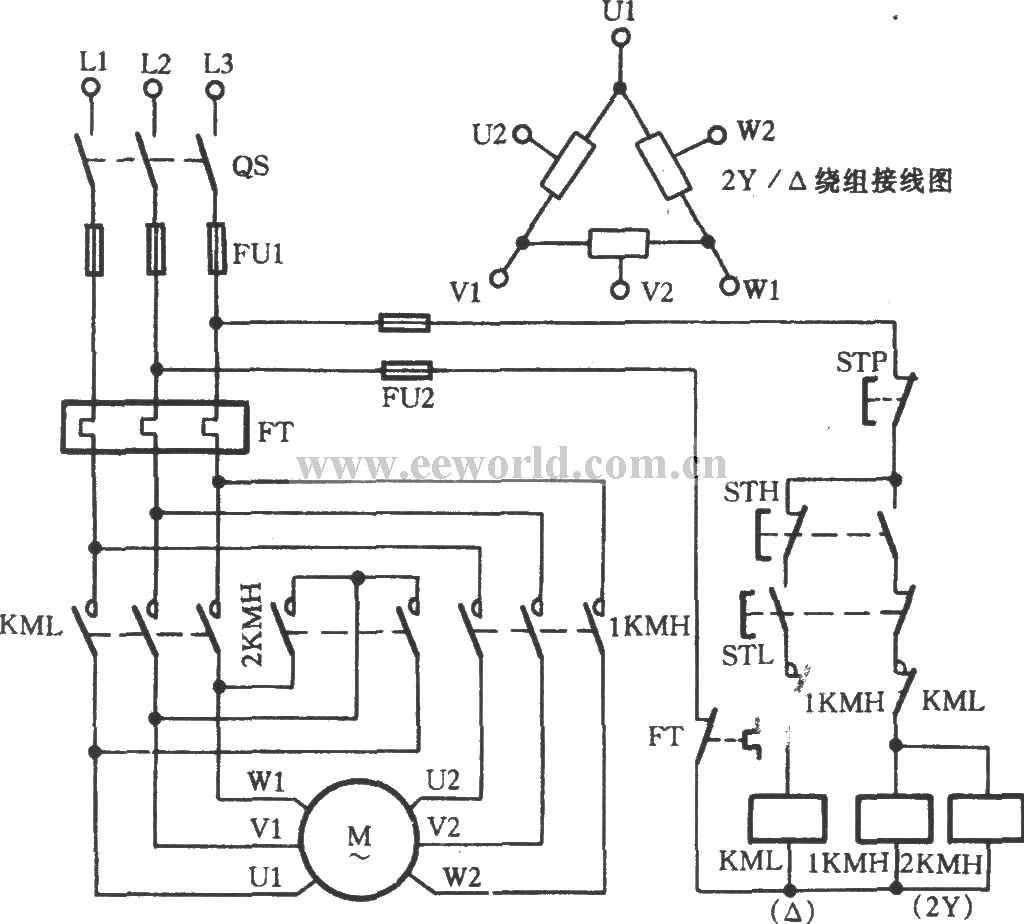 201171025444470 three phase motor dual speed 2y △ connection speed control three phase motor control circuit diagram at gsmportal.co