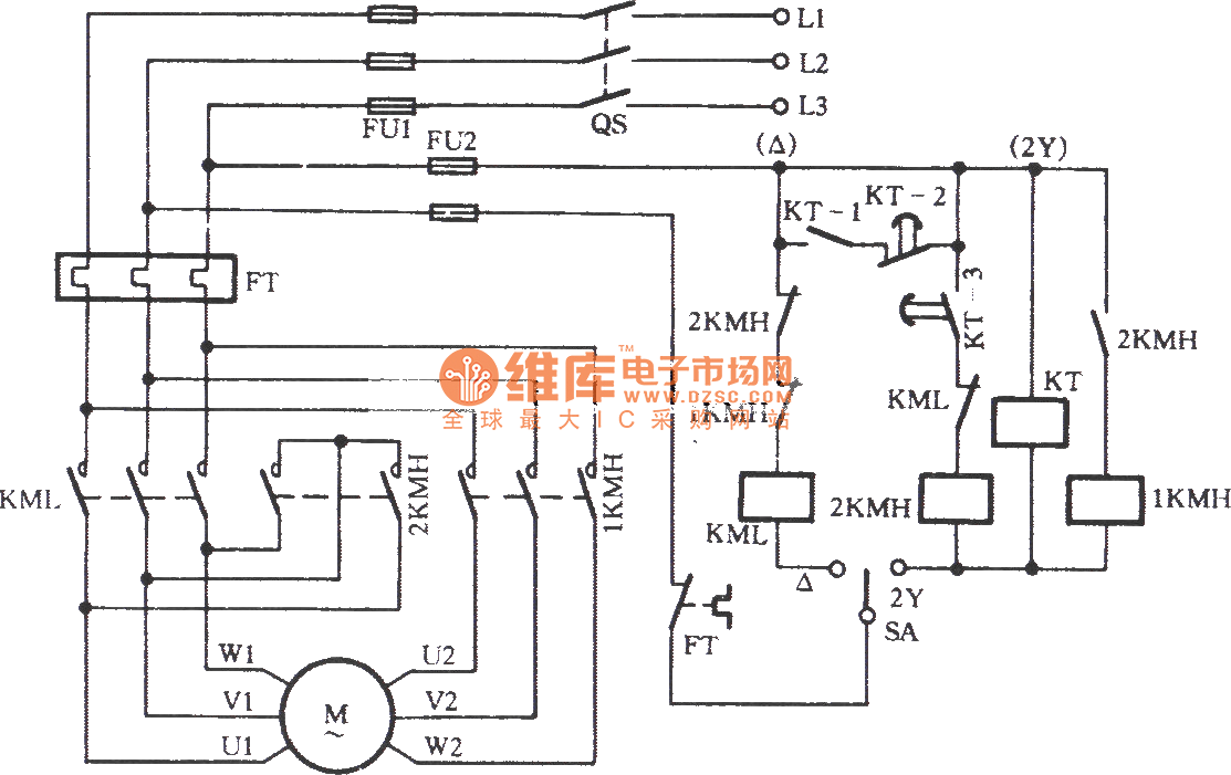 201171025617558 three phase motor dual speed 2y △ connection automatic speed three phase motor control circuit diagram at gsmportal.co