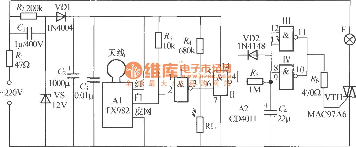 microwave radar automatic lamp circuit  5  tx982