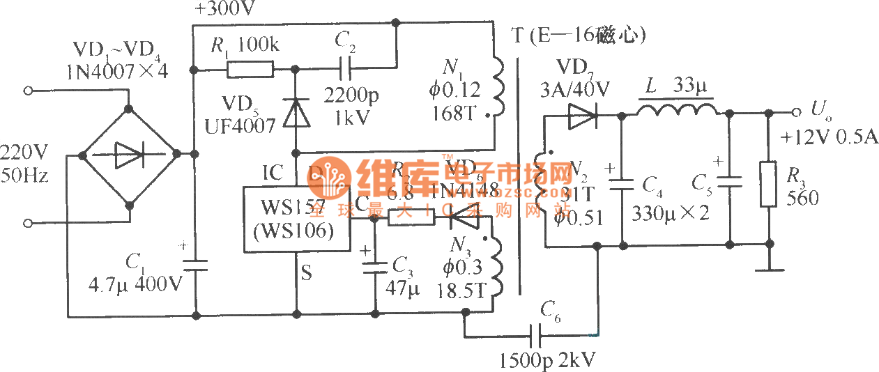 12v 05a Single Chip Switching Power Supply Circuit