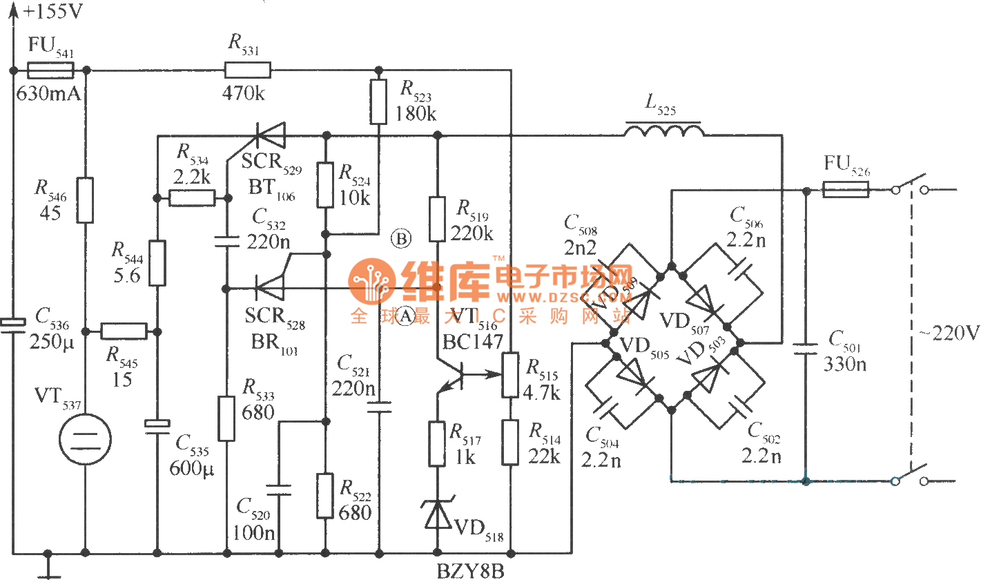 Non Isolated Silicon Controlled Switching Power Supply Output Measuringandtestcircuit Circuit Diagram Seekiccom