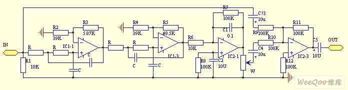 high quality dual channel mega bass circuit - audio_circuit, Circuit diagram