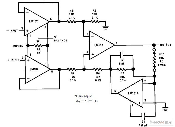 variable gain differential input instrumentation amplifier circuit
