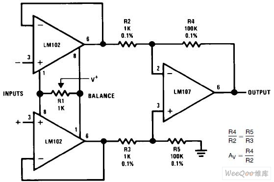 differential input instrumentation amplifier circuit