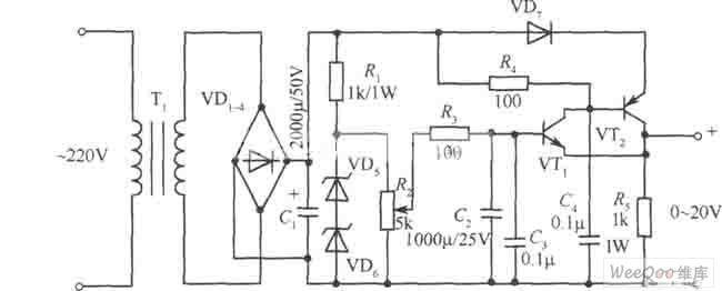 0 uff5e20v 1a regulated power supply circuit