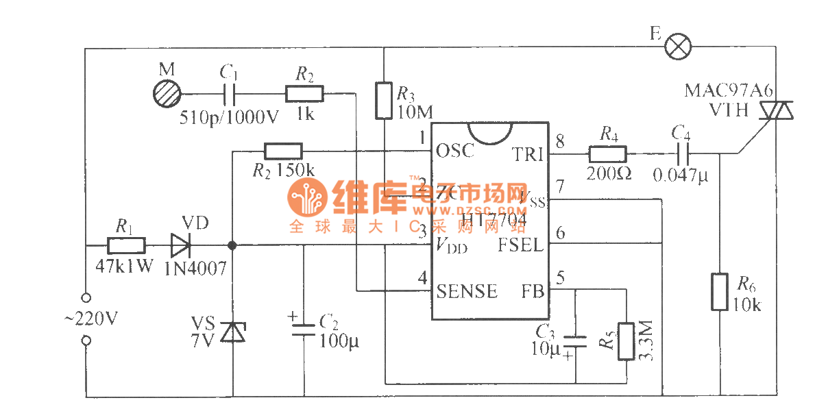 ht7704 touching stepping dimming light circuit